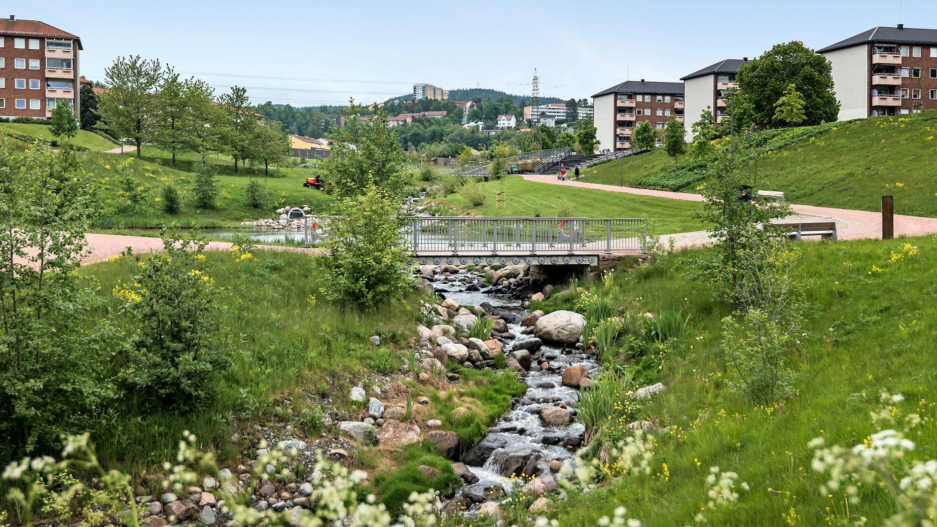 BYUTVIKLING: Mange byutviklingsprosjekter har gjort Bjerke til et attraktivt sted å bo. Ett av disse er Bjerkedalen park på bildet.
