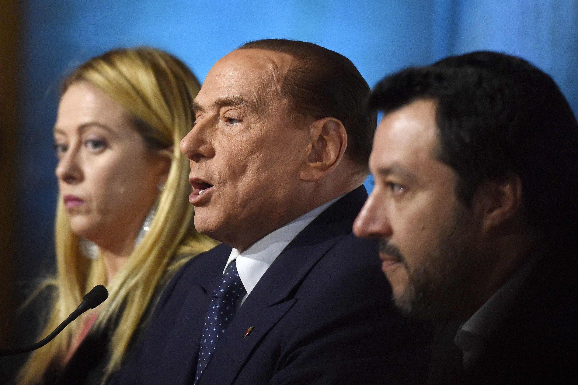 HØYREALLIANSE: Giorgia Meloni, Silvio Berlusconi og Matteo Salvini vil regjere sammen. Men de uenige om det meste.