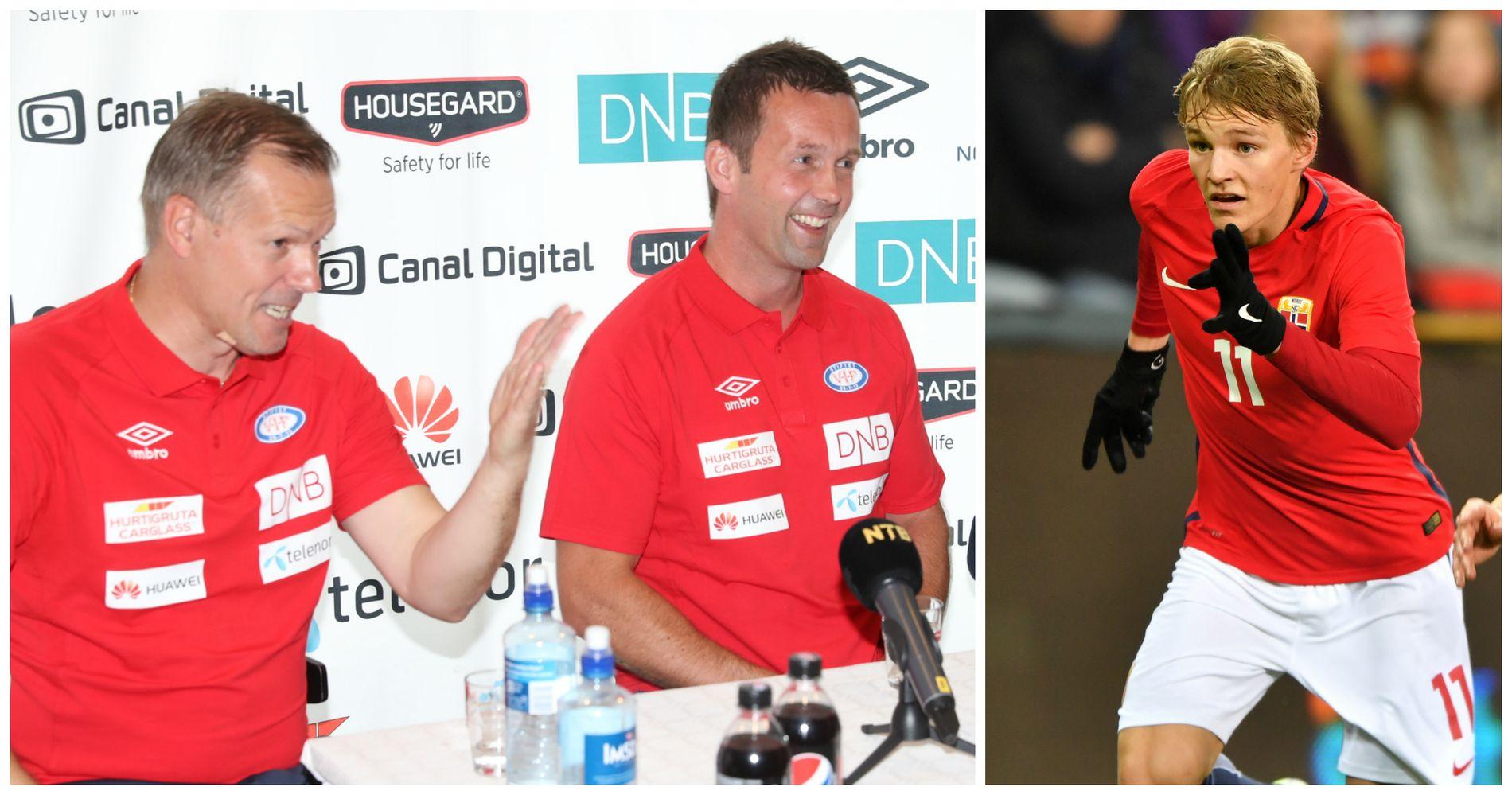 GODT HUMØR: Kjetil Rekdal (f.v.) og Ronny Deila lo godt da de ble spurt om de var enige i Martin Ødegaards status på det norske landslaget. Til høyre er Ødegaard i aksjon mot Finland i mars.