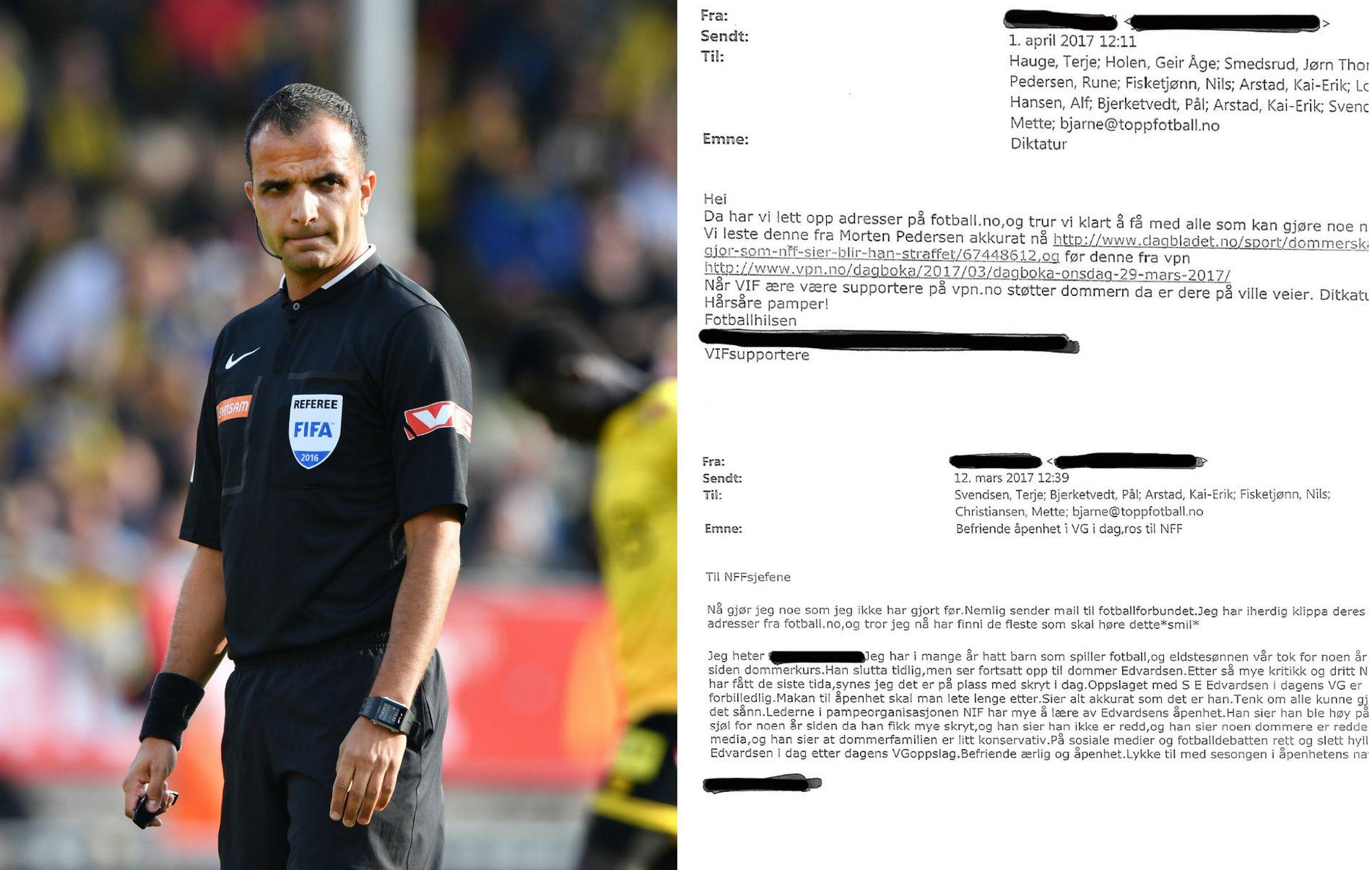 EPOST-TRØBBEL: NFF skal ha bevis for at Svein-Erik Edvartsen (t.v.) står bak fire eposter sendt i andres navn til flere høytstående personer i fotballforbundet.