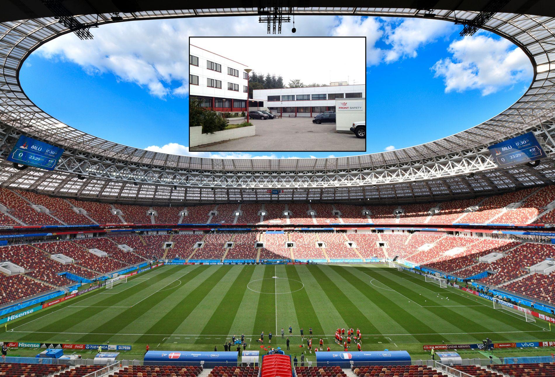 DET ER ET YNDIGT STED: Åge Hareide, her ved sideinjen, ledet Danmarks siste trening på Luzjniki stadion i Moskva i går. Innfelt i himmel på bildet ser vi lokalene til gamlejobben Aukra næringsforum.