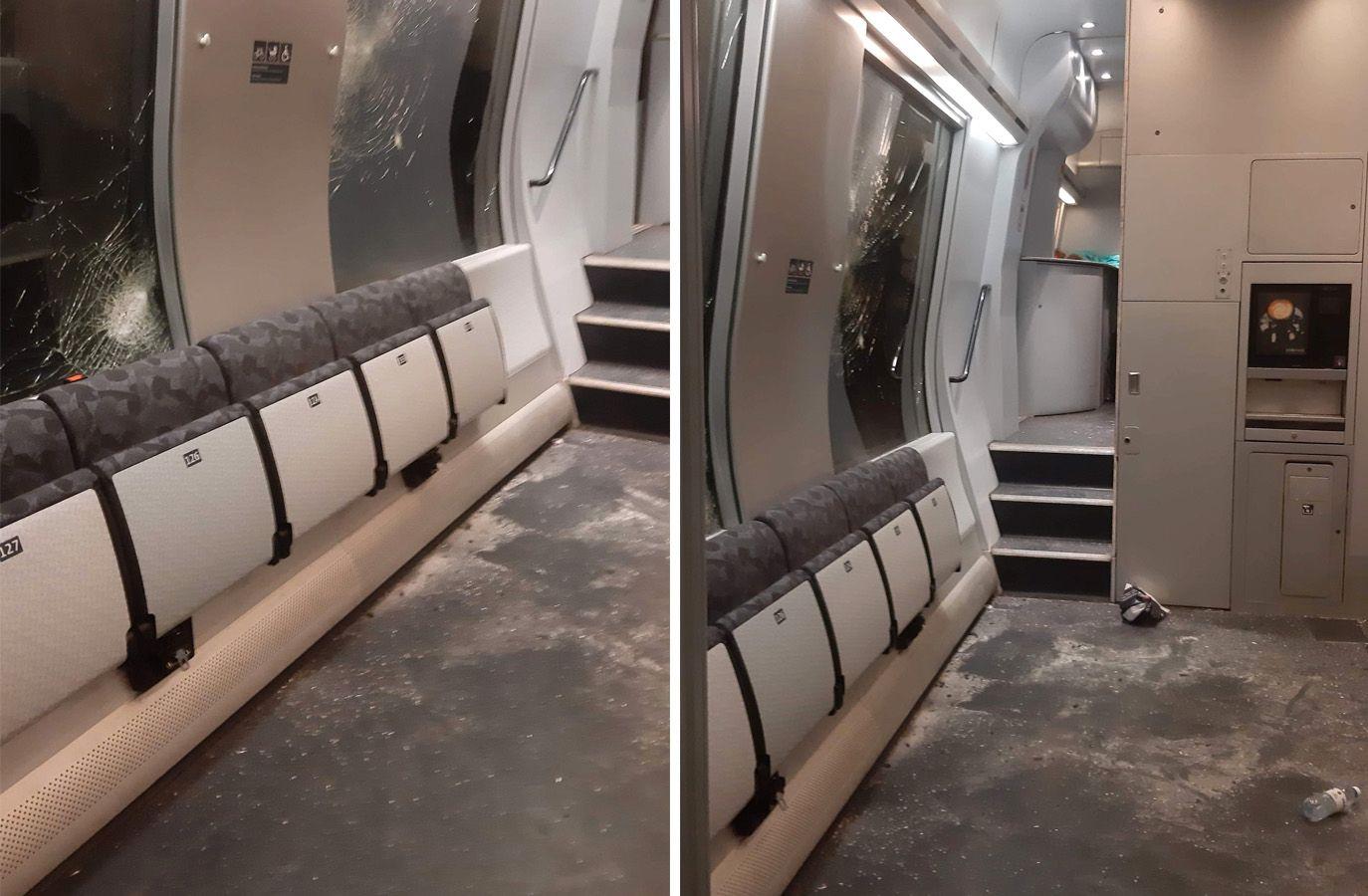 KNUSTE VINDUER: Heidi tok disse bildene om bord i toget etter ulykken.