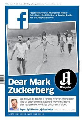 SKAPER DEBATT: Aftenpostens forside er dedikert til kritikk av Facebooks retningslinjer.