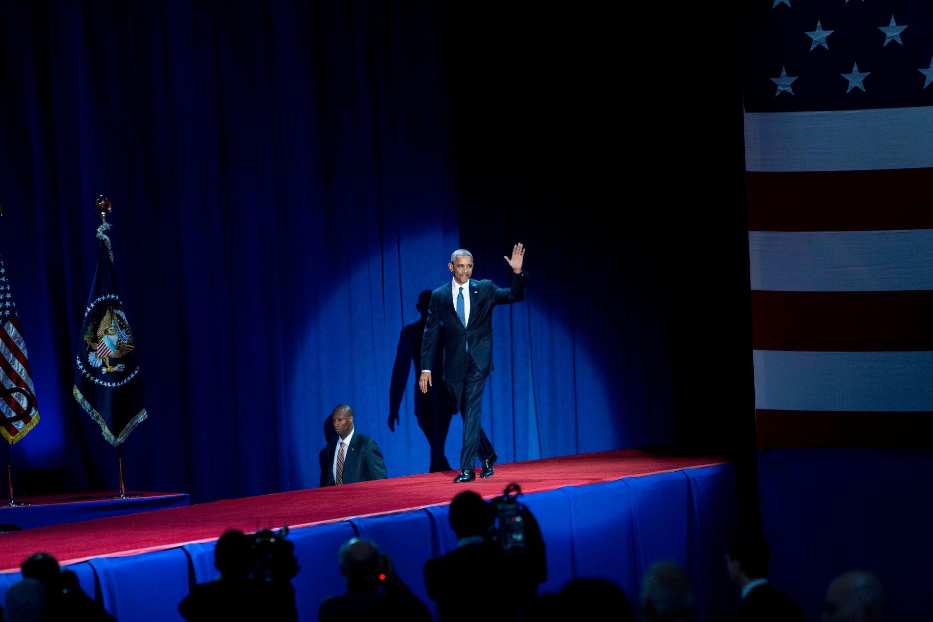 PÅ SAMME SCENE: USAs tidligere president Barack Obama skal tale på en konferanse - sammen med Gunhild Stordalen. Her fra da han holdt sin avskjedstale 10. januar i år. FOTO: THOMAS NILSSON/VG