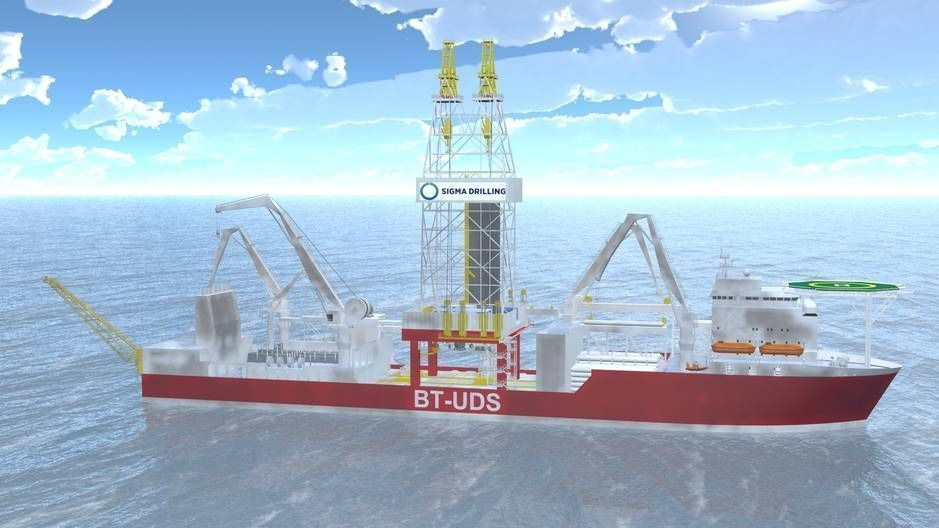 ULTRADYPT: Det nye BT - UDS boreskipet for Skeie-selskapet Sigma Drilling blir 230 meter langt og designes for å bore på havdyp ned til 3650 meter og kan bore 12 km lange brønner. Levering i 2015.