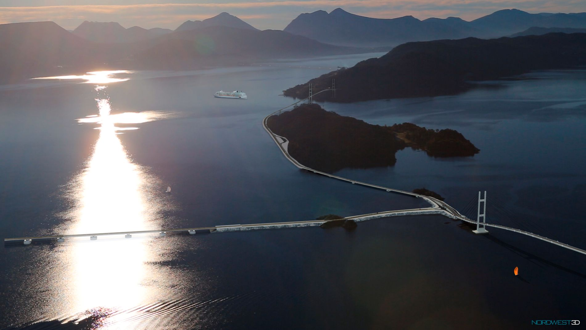 BRO ETTER BRO: Slik tenker Romsdalsaksen seg at Romsdalsfjorden skal krysses – legg merke til at cruiseskip kan passere under hengebroen i bakgrunnen.