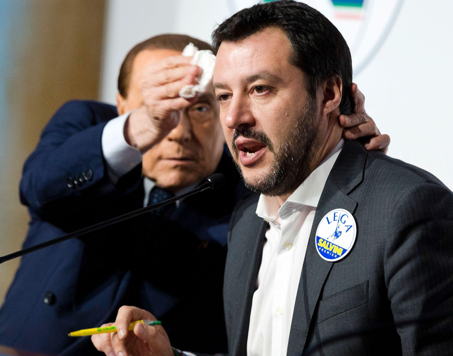 FRONTFIGUR: La Legas leder Matteo Salvini har vært en del av Italias politiske elite i et par tiår, og partiet har vært i fem regjeringer siden Berlusconis første kabinett i 1994.