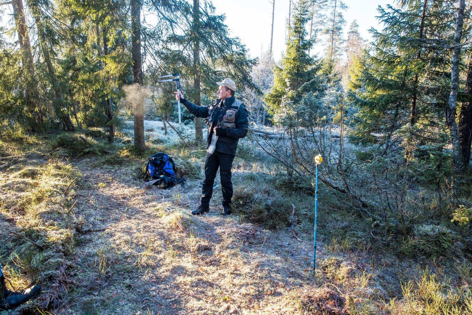 MÅLER SKOG: Knut Ole Viken viser hvordan skogen blir talt og målt.