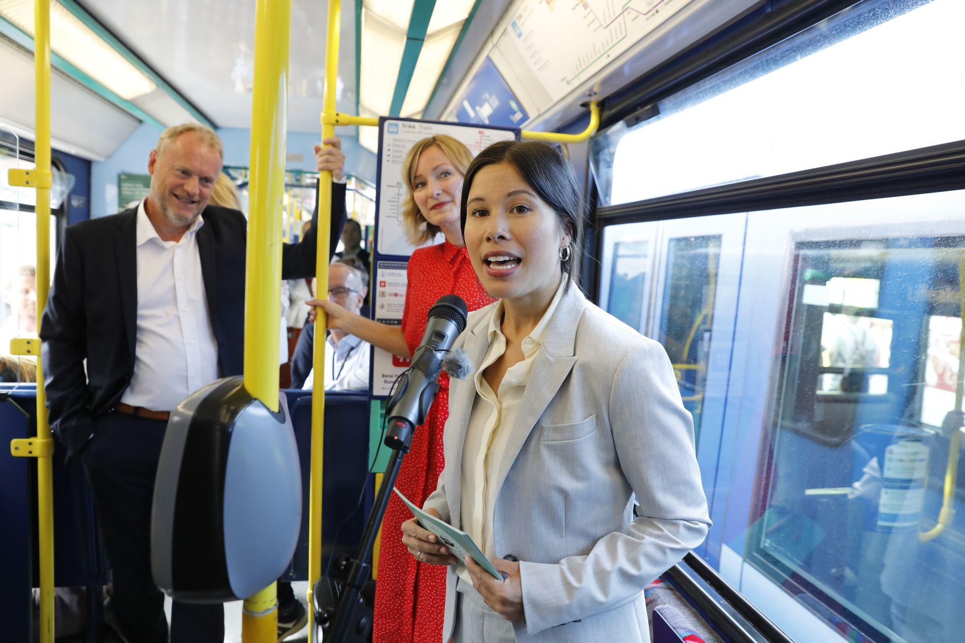 TRESPANN: Raymond Johansen, Inga Marte Thorkildsen og Lan Marie Nguyen Berg lanserer av Oslos nye klimastrategi.