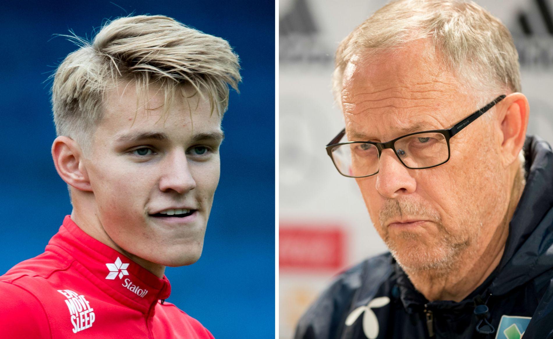 SNAKKER IKKE: Martin Ødegaard (t.v.) sier at han kun så vidt har hørt noe fra landslagssjef Lars Lagerbäck.