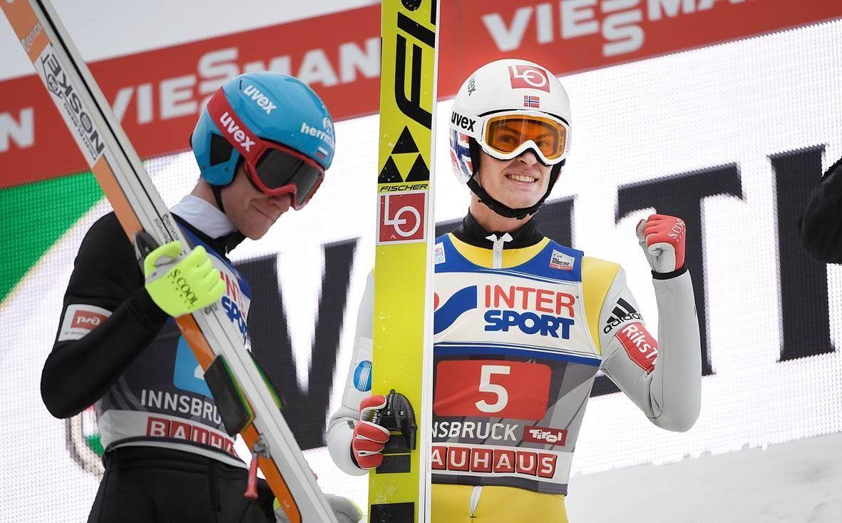 BUNNSOLID: Daniel-André Tande under det tredje hopprennet i hoppuka i Innsbruck onsdag.