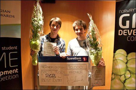 """BESTE SPILL: Stian Sandvold og André Lincoln Reed vant prisen for """"Best Entry"""" og 40 000 kroner. Foto: FOTO: Hans Myraune"""