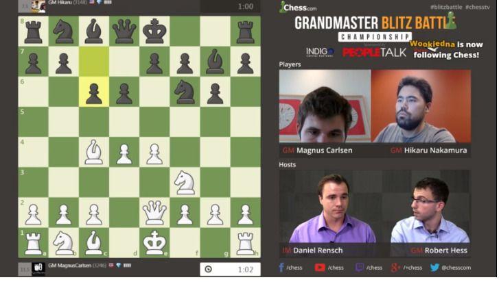 FINALE: Slik så det ut da Magnus Carlsen og Hikaru Nakamura torsdag kveld satt på hvert sitt sted og spilte mot hverandre i finalen i chess.com's store match-turnering i lynsjakk.