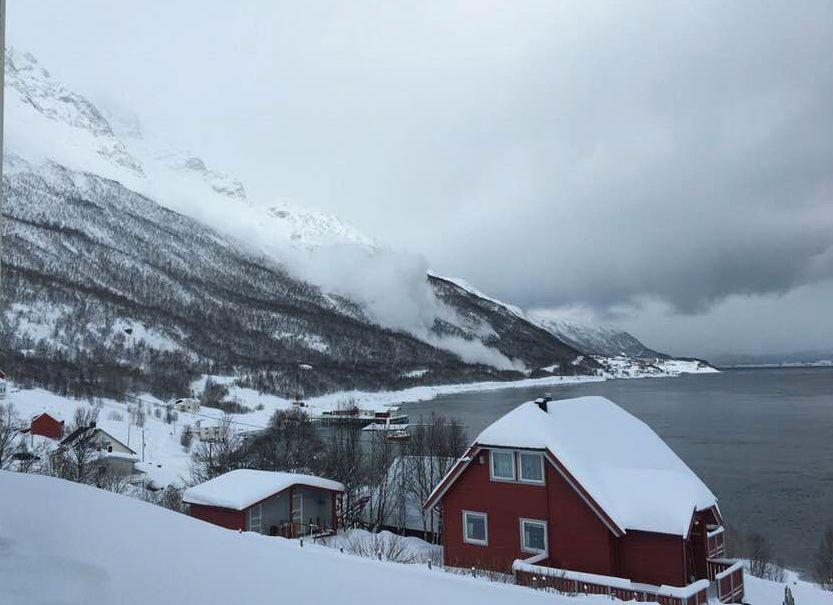 SKRED: Jim Arne Hansen fanget dette skredet hjemme fra huset sitt ved Reierviklandet  i Troms. Skredet går over veien som fører til nabogrenda Skarmunken.