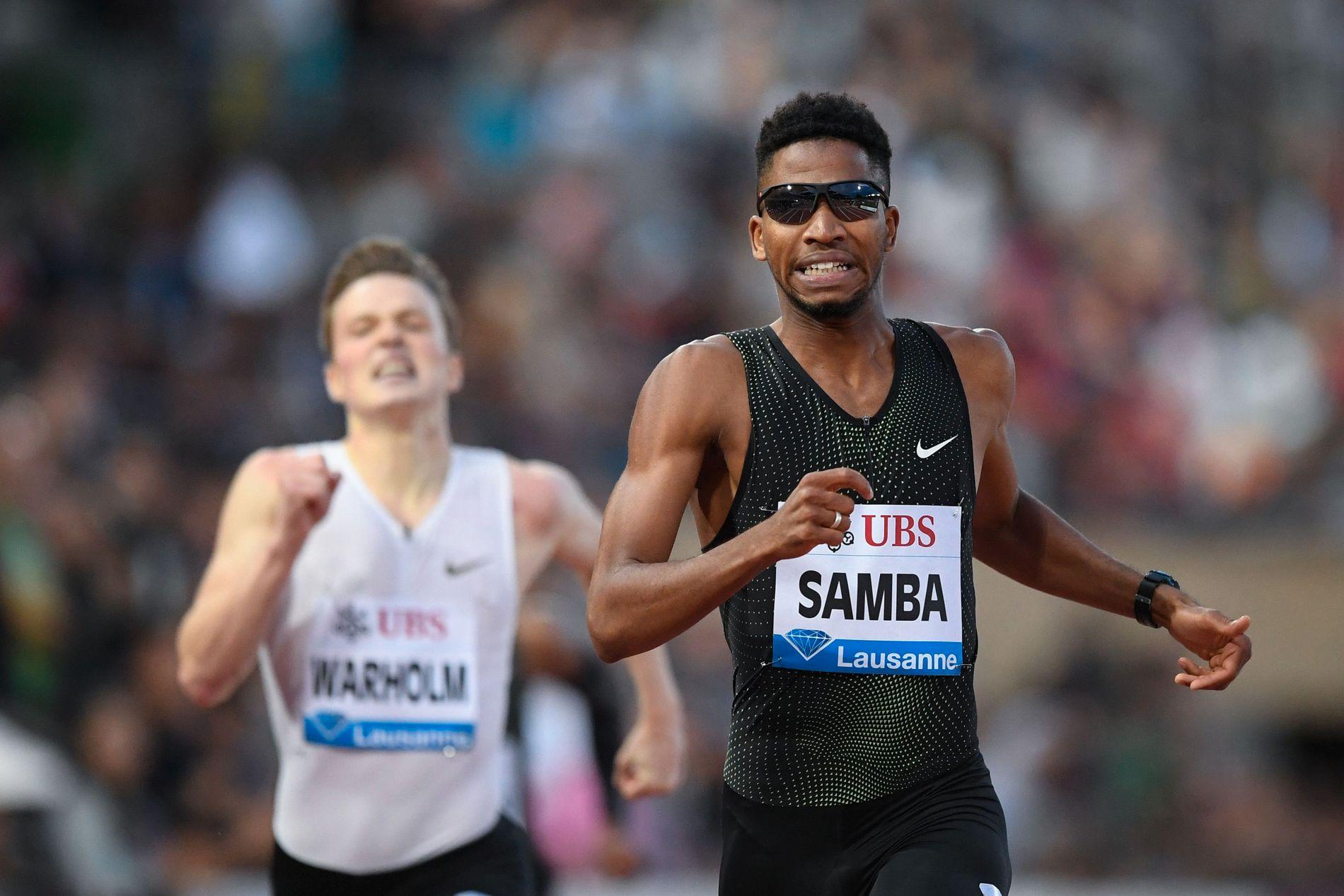 DÅRLIG OPPKJØRING: Abderrahman Samba har slitt med skader i sommer. Her fra Lausanne i fjor sommer. Karsten Warholm bak i bildet.