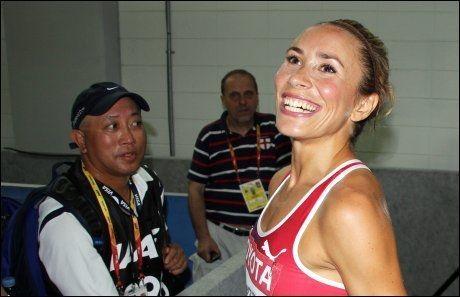 STRÅLTE: Ingvill Måkestad Bovim har grunn til å smile igjen. Her er hun avbildet etter å ha sikret seg finaleplass på 1500 meter i fjorårets VM i Daegu, Sør-Korea. Foto: Øyvind Brenne, VG Nett
