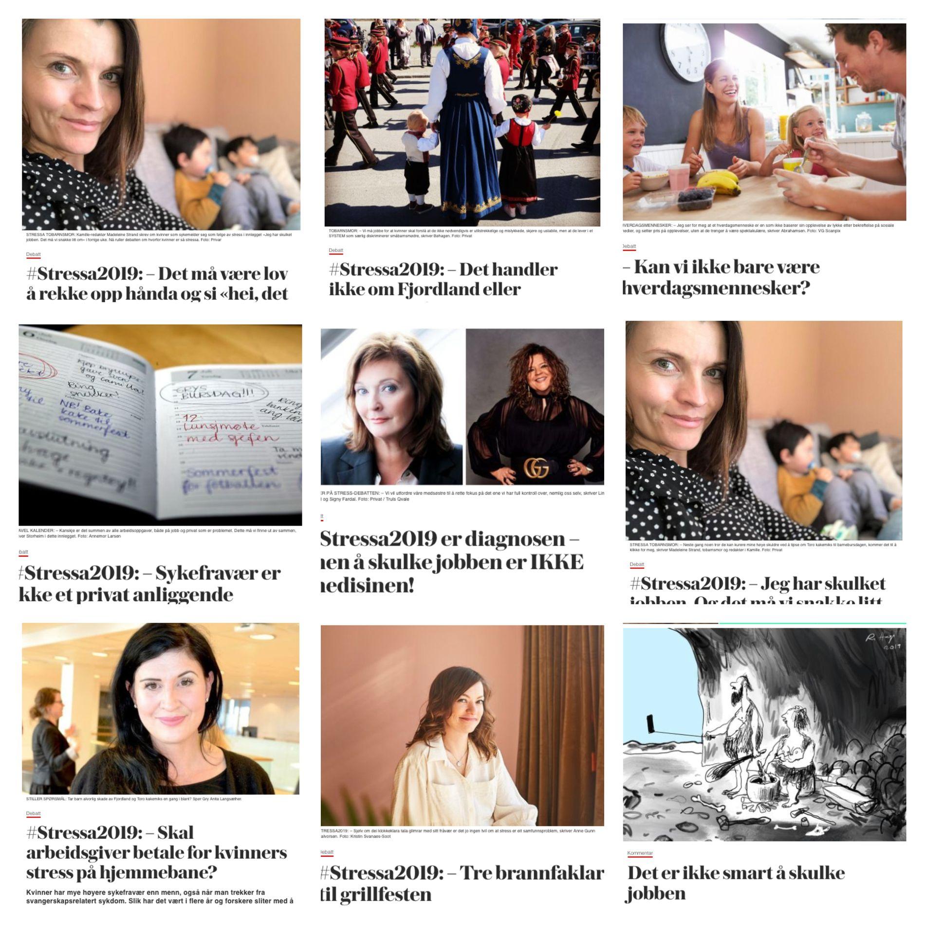 STRESSA2019: Stress-debatten ruller og går i VGs flater, etter at Kamille-redaktør Madeleine Strand skrev om kvinner som sykemelder seg som følge av stress i innlegget «Jeg har skulket jobben. Det må vi snakke litt om». Her ser du noen av innleggene som er publisert så langt.