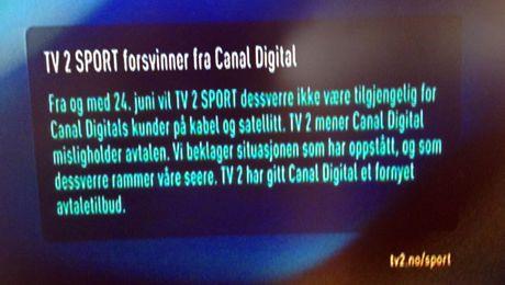 NYTT TILBUD: TV 2 opplyser sine seere om at de har gitt Canal Digital et fornyet avtaletilbud, og beklager at kanalens sendinger ikke er tilgjengelig for Canal Digitals kunder. Foto: Knut Arne Hansen