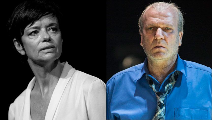 ROLLENE: Gisken Armand på scenen som «Jeg» i «Jeg forsvinner» og Ingar Helge Gimle som Willy Loman i «En handelsreisendes død». Foto: ERIK BERG og BENGT WANSELIUS