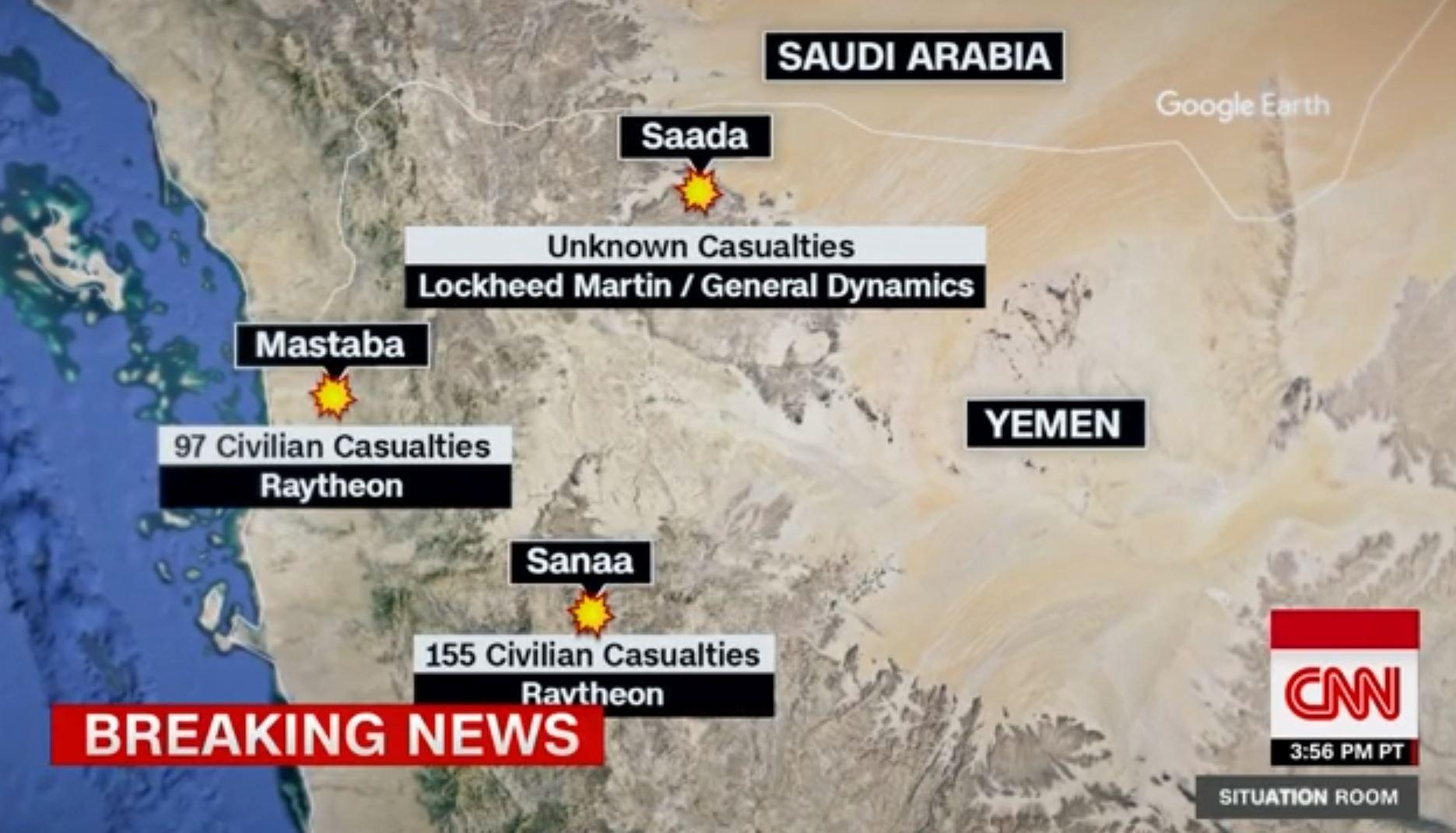 HVEM LAGDE BOMBENE? Den amerikanske TV-kanalen CNN viser frem hvilke bomber som har vært involvert i de største massedrapene på sivile i Jemen de siste årene.