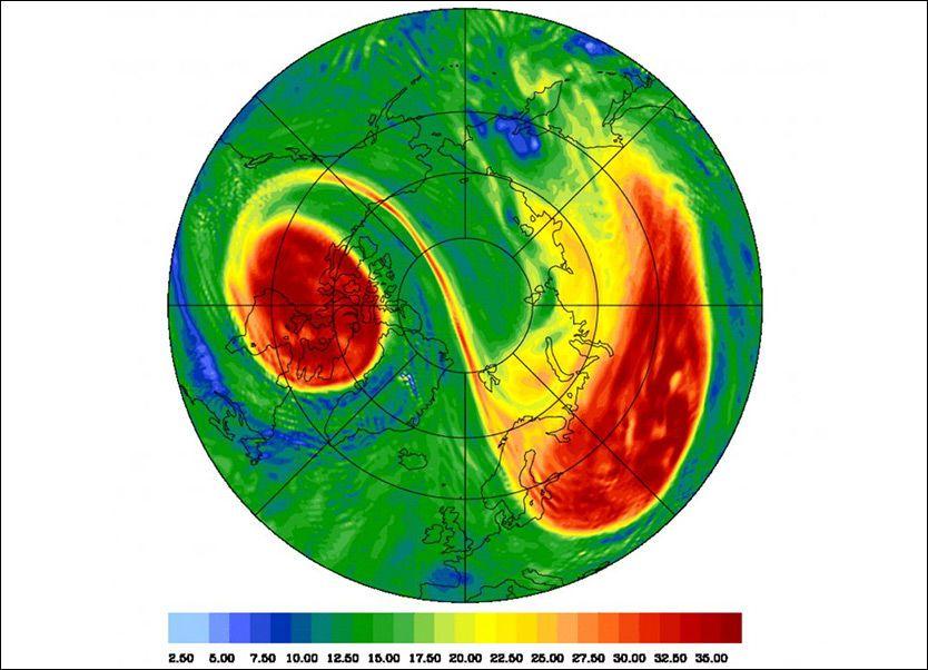 DRAMATISK VAKKERT: Slik så nordpolvirvelen høyt oppe i stratosfæren ut 8. januar. Det deler seg i to, og er i ferd med å gå tilbake til «normalsituasjon». Lavtrykk og stormer dannes i kanten av den røde sone. Ill: ANDREAS DÖRNBRACK/ECMWF