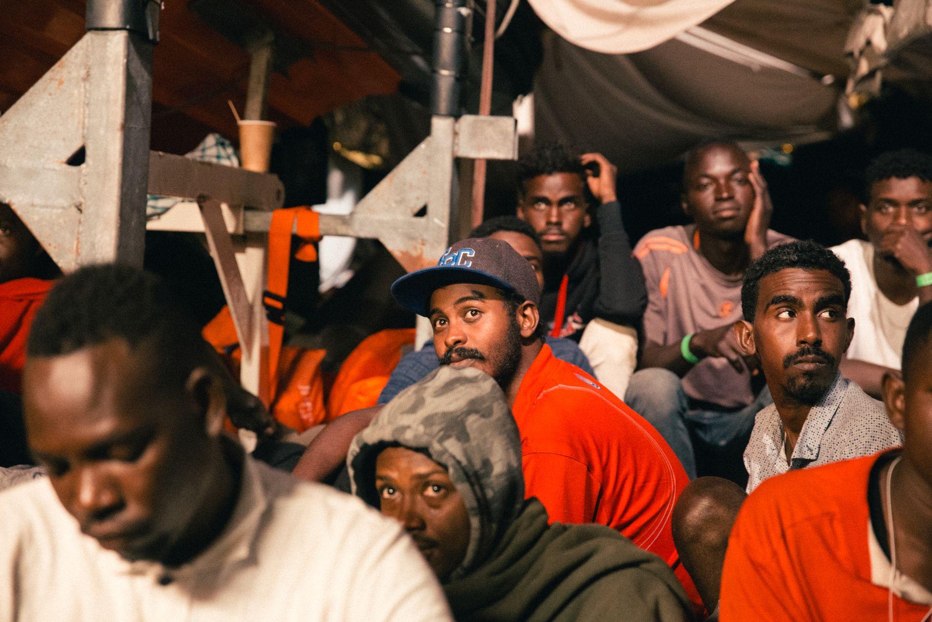 FLEST MENN: Blant de 335 flyktningene fra Libya er bare 14 kvinner.