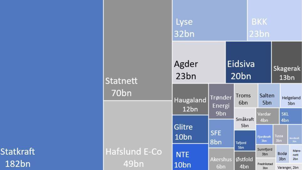 STORE VERDIER: Dette er Paretos oversikt over Norges 30 største kraftselskaper, målt etter verdien av selskapenes eiendeler.