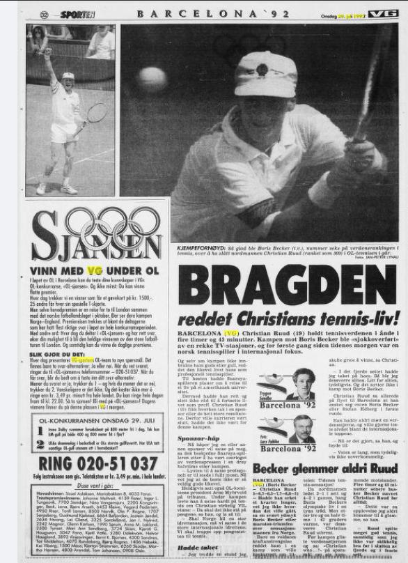 MØTTE BECKER: Slik så avissiden i VG ut 29. juli 1992, dagen etter at Christian Ruud ga Boris Becker kamp over fem sett under OL i Barcelona.