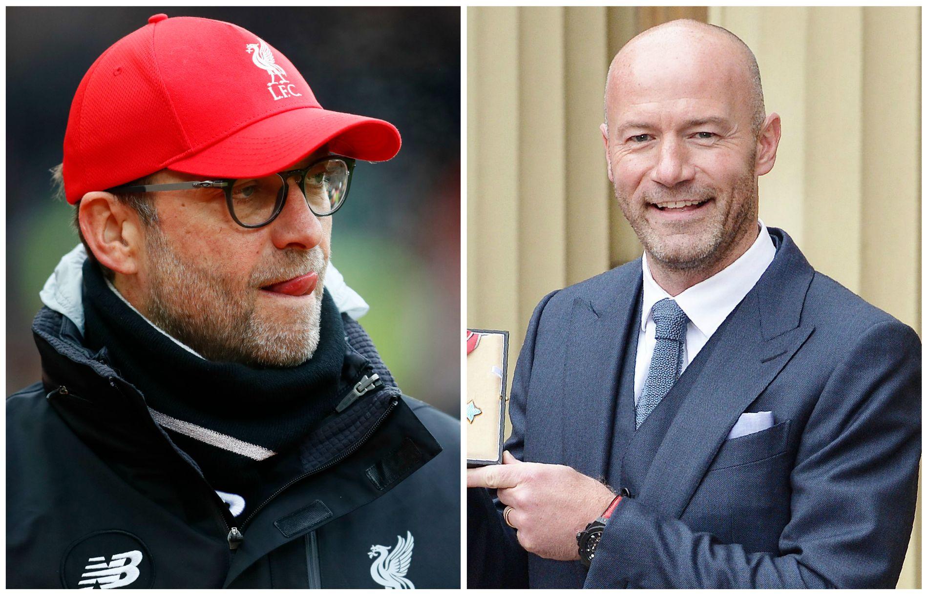 FÅR KRITIKK: Jürgen Klopp og flere andre Premier League-managere roterte kraftig på lagene sine i FA-cupen. Det får Alan Shearer (t.v.) til å reagere.